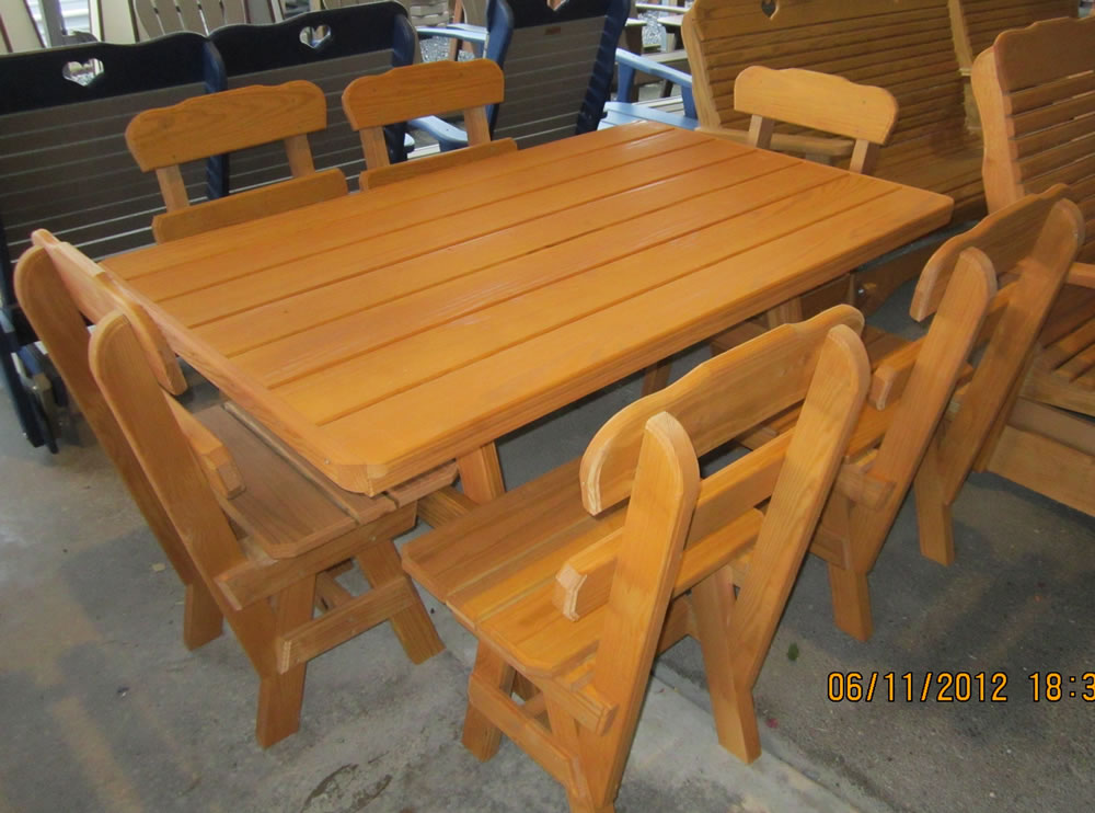 Wood picnic tables air hill lawn furniture for Outdoor furniture hwy 7